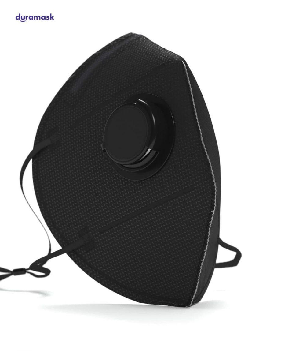 Duramask-DM017-Jet-Black-KN95-Designer-Mask-with-Valve-No-Logo